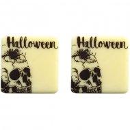 5 Quadrati con teschi di Halloween (3 cm) - Cioccolato bianco