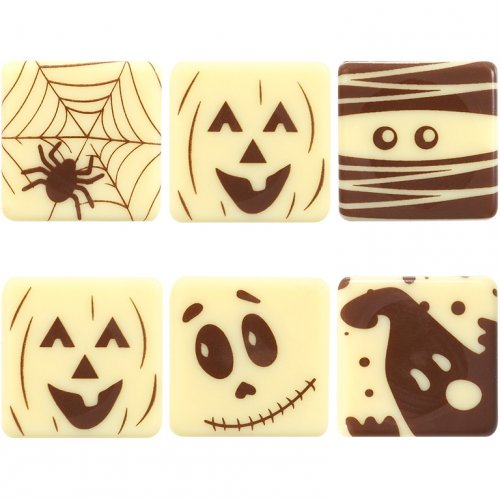 5 Quadrati fantasia Halloween - Cioccolato bianco