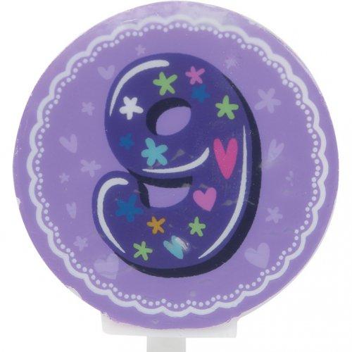 Candela rotonda numero 9 (6 cm)