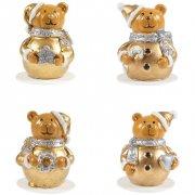 4 Stecchini decorativi Orsetti 3D Oro - Plastica