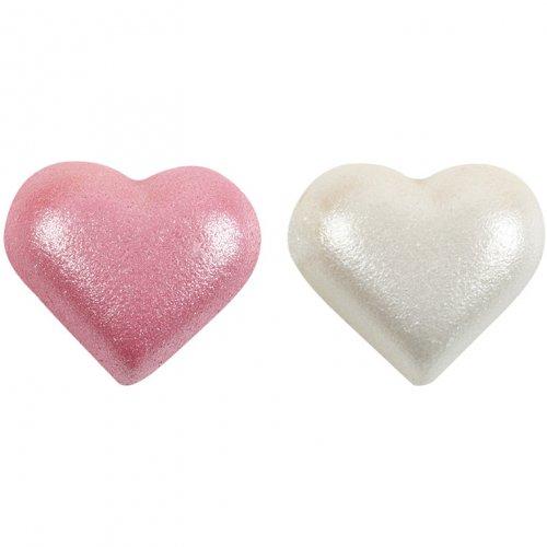 2 Mezzi cuoricini rosa + 2 perlati bianchi