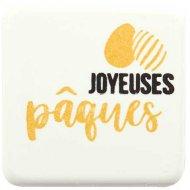 """2 Quadrati """"Joyeuses Pâques"""" - Bianco (4 cm)"""