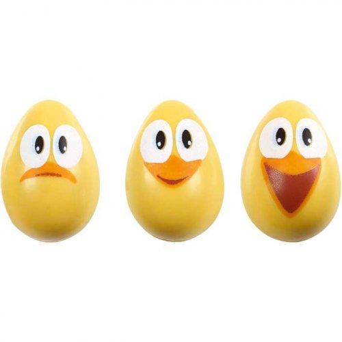 4 Uova di cioccolato con pulcini sorridenti (vuote)