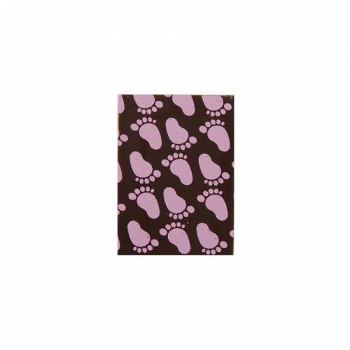 4 Targhette rosa per nascita - Cioccolato (3,5 cm)
