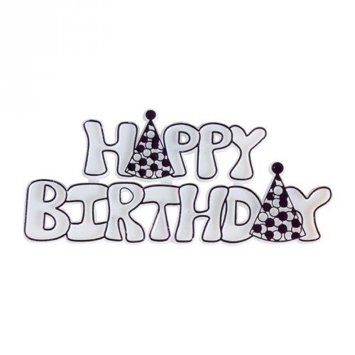 "Targhetta ""Happy Birthday"" viola (9 cm) - Plastica"