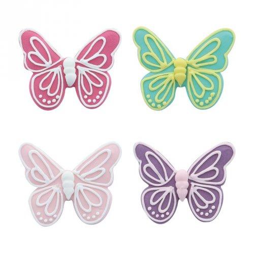 4 Grandi farfalle 2D (5,5 cm) - Pasta di zucchero