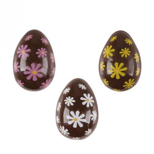 3 Mini uova di Pasqua 3D con fiori (3,8 cm) - Cioccolato