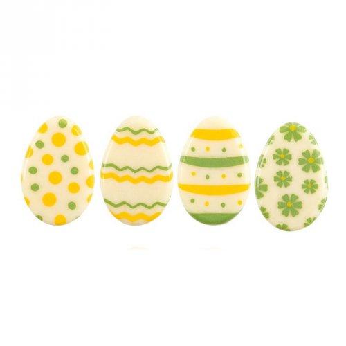 5 Mini uova di Pasqua 2D giallo/verde (3 cm) - Cioccolato bianco
