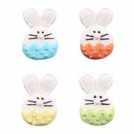 4 Teste di coniglio colorate 2D (4,5 cm) - Pasta di zucchero