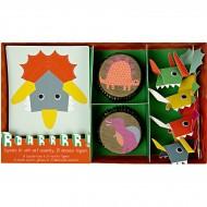 Kit 24 Pirottini e decorazioni per cupcake Dino Friend