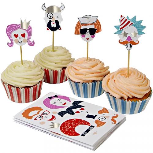 Kit 24 Pirottini e decorazioni per cupcake Ritratti buffi