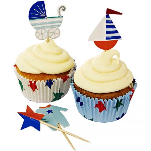 Kit 24 Pirottini e decorazioni per cupcake Bimbo blu