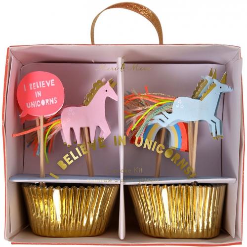 24 Pirottini e decorazioni per cupcake Unicorno