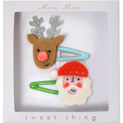 2 fermagli Babbo Natale e Renna