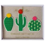 3 spille di cactus ricamato con le pompe