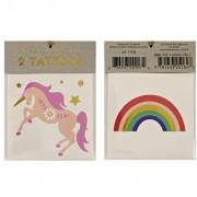 2 tatuaggi di unicorno e arcobaleno