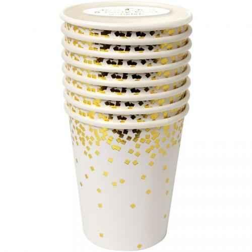 8 Bicchieri Oro Coriandoli