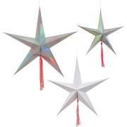 3 Grandi Decorazioni da appendere Stelle filanti (18, 25 e 28 cm)