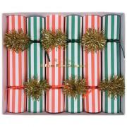 6 Piccoli Cracker di Natale rossi e verdi (19 cm)