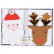 8 Etichette regalo Babbo Natale e Renna (8 cm)