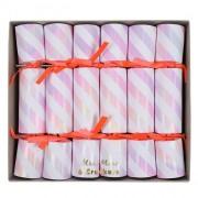 6 piccoli cracker rosa iridescente (17,5 cm)