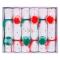 6 Crackers Pompons Rouge/Vert (19 cm) images:#0