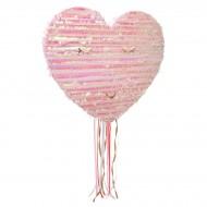 Pull Pinata Cuore Rosa Iridato (46 cm) - Da dispiegare