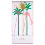 5 stuzzicadenti maxi decorativi per torta Fenicottero (25 cm) - Plastica