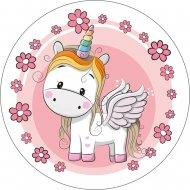 1 disco Unicorno fiori (21 cm) – Ostia