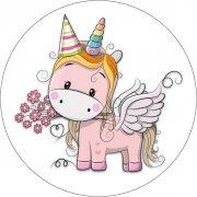 1 Disco Unicorno cappello  (21 cm) - Ostia