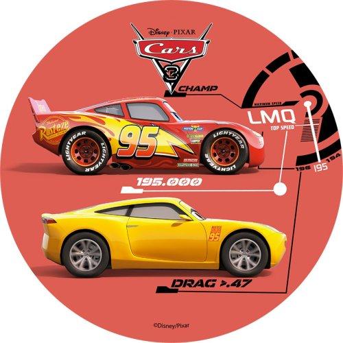 1 Disco Cars rosso (21 cm) - Ostia