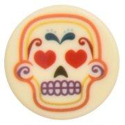 3 Medaglioni piccoli con teschi messicani (3,5 cm) - Cioccolato bianco