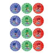 12 Adesivi per biscotti Pigiamini (5,5 cm) - Zucchero