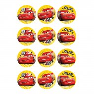 12 Adesivi per biscotti Cars (5,5 cm) - Zucchero
