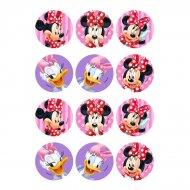 12 Adesivi Minnie e Daisy (5,5 cm) - Zucchero