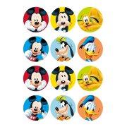 12 Adesivi per biscotti Mickey Club (5,5 cm) - Zucchero
