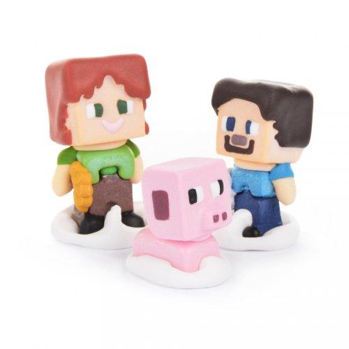 """3 Statuette 3D """"Mine Craft"""" - Pasta di zucchero"""