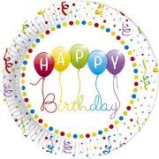 8 Piatti Happy Birthday Palloncini Rainbow