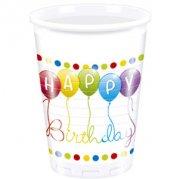 8 Bicchieri Happy Birthday Palloncini Rainbow