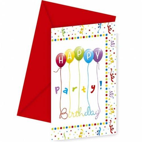 6 Inviti Happy Birthday Palloncini Rainbow