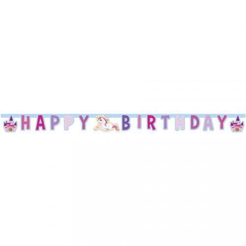 Ghirlanda lettere Happy Birthday unicorno incantato