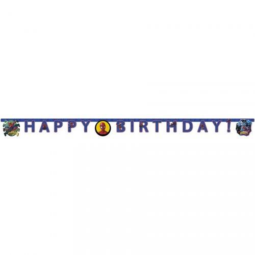 Ghirlanda Happy Birthday Spiderman Team (2 m)