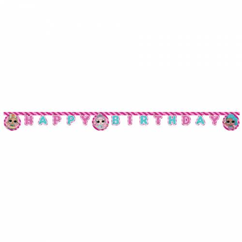 Ghirlanda Happy Birthday LOL Surprise rosa