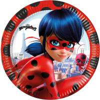 Contiene : 1 x 8 Piatti Miraculous Lady Bug - Compostabile
