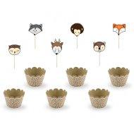 Kit 6 cupcake motivo legno