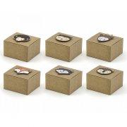 6 Mini scatole Regalo motivo legno (5,5 cm)