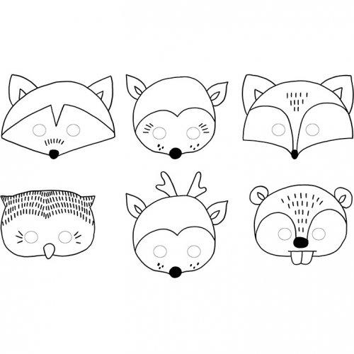 6 Maschere da colorare Animaletti di legno