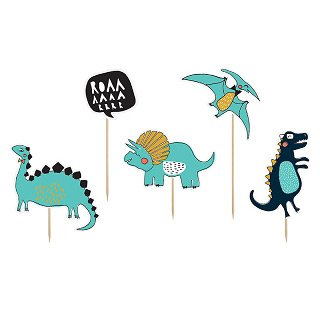 """5 Maxi stecchini decorativi """"Dino Party Roarrrr"""""""