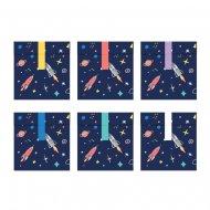 6 Sacchetti regalo Space party (16 cm) – Carta
