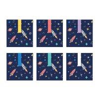 Contiene : 1 x 6 Sacchetti regalo Space party (16 cm) – Carta